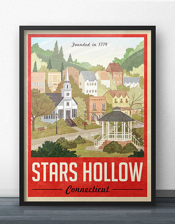 Stars Hollow Vintage Travel Poster